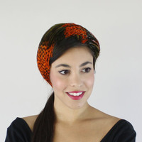Vintage Feather Headband Hat - Mid Century 1950s 1960s Designer Park Crescent / Orange & Green