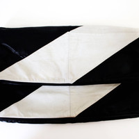 Vintage Leather Clutch Bag Black and White Purse Large Leather Clutch