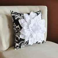 White Dahlia Flower on Black and White Damask Pillow by bedbuggs