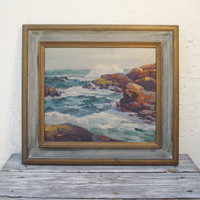 C. Gordon Harris Original Oil on Canvas Board Vintage Seascape by Listed Artist Charles Harris