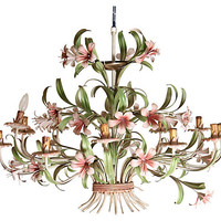 One Kings Lane - Pink Flower Tole Chandelier