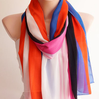 Infinity Scarf. Loop Scarf ..Chiffon Scarf....Orange and Pink and Black Scarf with stripe