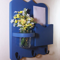 Mail Organizer - Letter Holder - Mail and Key Holder - Key Hooks- Jar Vase