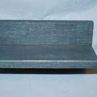 Milkpaint Teal Blue Small Lumber Curio Shelf H118 on Handmade Artists' Shop