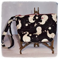 Small Wristlet Stadium Size Cute Ghosts Halloween Stripe Pocket