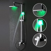 Single Handle Wall Mount Rain Shower Faucet with Adjustable Slide Bar and Build-in LED Lights, Chrome