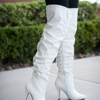 ForeverLink Focus-33 White Over The Knee Slouchy High Heel Boot - Shoes 4 U Las Vegas