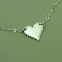 Floating Heart Necklace - 925 sterling silver heart pendant jewelry