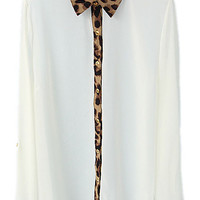 ROMWE | Color-block Leopard White Shirt, The Latest Street Fashion