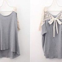 GREY CROCHET LACE BACK OVERSIZE BLOUSE