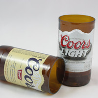 Coors or Coors Light  Drinking Glasses Upcycled from Beer Bottles