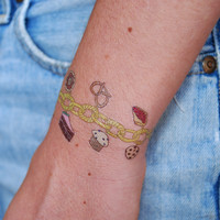 Carbs Charm Bracelet Temporary Tattoo, Set of 2