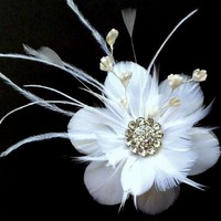 Bridal Hair Accessories, Flower Feather Fascinator Hairclip - NIRVANI | yjdesign - Wedding on ArtFire