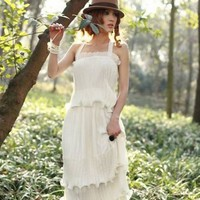 White Maxi Chiffon Strap Dress M L Size | paradise - Clothing on ArtFire