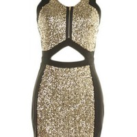 Front Zip Sequin Dress