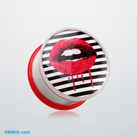 Dripping Lip Pop Art Single Flared Ear Gauge Plug