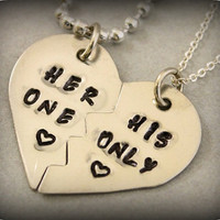 Her One His Only Necklaces - Couples Jewelry - Girlfriend Boyfriend Gift - Hand Stamped Split Heart His and Her Necklaces - Nickel Silver