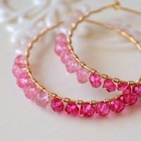 NEW Pink Hoop Earrings, Rose Quartz Pink Topaz Gemstone, Genuine Semiprecious Stone, Shaded Ombre, Wire Wrapped Gold Jewelry, Free Shipping
