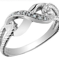 Infinity Diamond Promise Ring in 10K White Gold:Amazon:Jewelry