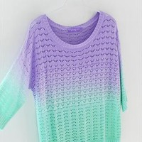 Colorful Gradient Hollow Pullover Sweater A 081904