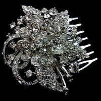 Flower Bridal Haircomb, Swarovski Crystal Hair Jewelry - BOUQUET | yjdesign - Wedding on ArtFire