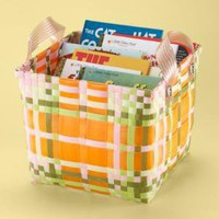 Kids Storage: Kids Orange Plaid Strapping Storage Bin