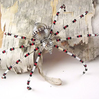 Christmas Spider - Metal Beaded Spider Ornament -- Metal/Red/Silver/Black