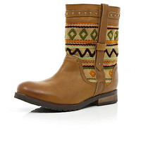 Brown aztec tapestry panel biker boots