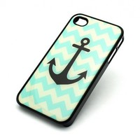BLACK Snap On Case IPHONE 4 4S Plastic Cover - CHEVRON ANCHOR boat hope teal tiffany turquoise love mayan aztec