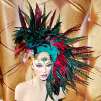 MADE TO ORDER feather mohawk Headdress headpiece coque feather snake stone wig burning man burlesque fantasy drag diva glamourous