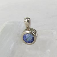 Tanzanite Pendant in 14K White Gold Round Filigree Setting December Birthstone Gemstone Jewelry