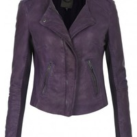 Zaire Leather Collarless Biker Jacket in Plum
