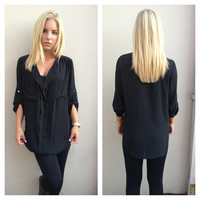 Black Pocket Blouse