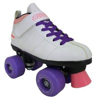 Chicago Bullet Outdoor B100W White Boots with Purple RoadRider Outdoor Wheels and Purple Laces Mens Boys Ladies Womens Girls Kids Childrens Youth Quad Speed Roller Skates Beginner Recreational Roller Derby Skating
