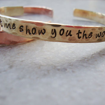 Depeche lyrics brass handstamped cuff bracelet