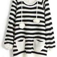 ROMWE | Striped Hooded Fluffy Ball Black Jumper, The Latest Street Fashion