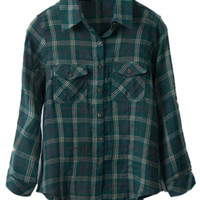 ROMWE | Check Pocketed Rolled-up Green Shirt, The Latest Street Fashion
