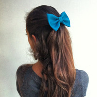 Blue bow BIG hair bow (S-N-010)