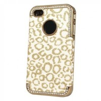 Bling Glitter Rhinestone Leopard Hard Case Cover For Apple iPhone 4 4G 4S Gold:Amazon:Cell Phones & Accessories