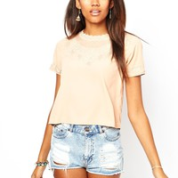 River Island | River Island Chelsea Girl Vintage Tee with Lace Neckline at ASOS