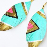 Multi Statement  Chandelier - Neon Aztec Turquoise Earrings | UsTrendy