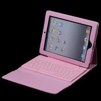 (LightaheadTM) Ipad 2 Case with Built-in Bluetooth Keyboard Leather Cover with Keypad (Pink)