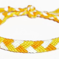 Halloween Candy Corn Colored Braided Pattern Embroidery Friendship Bracelet, Halloween Friendship Bracelet