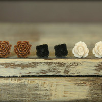 Flower Earring Studs Trio Chocolate Blooming by saffronandsaege
