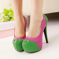 Womens Color Patchwork Rivets High Heels Stilettos Pump Court Shoes Platform 1o6