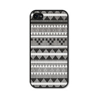 Black and Brown Geometric iPhone 4 Case - Plastic -  iPhone 4s Case - Wood Tribal Southwest For Him