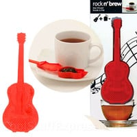 Rock N Brew Red Guitar-Shaped Food-Safe Polypropylene Tea Infuser, Fun & Unique Gifts