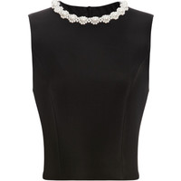 Pearl Embellished Neoprene Sleeveless Top by Simone Rocha - Moda Operandi