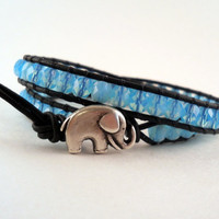 Sea Blue Leather Wrap Bracelet Elephant Button Chan by PZWDesign