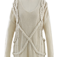 V-Neck Oversize Sweater in Ivory